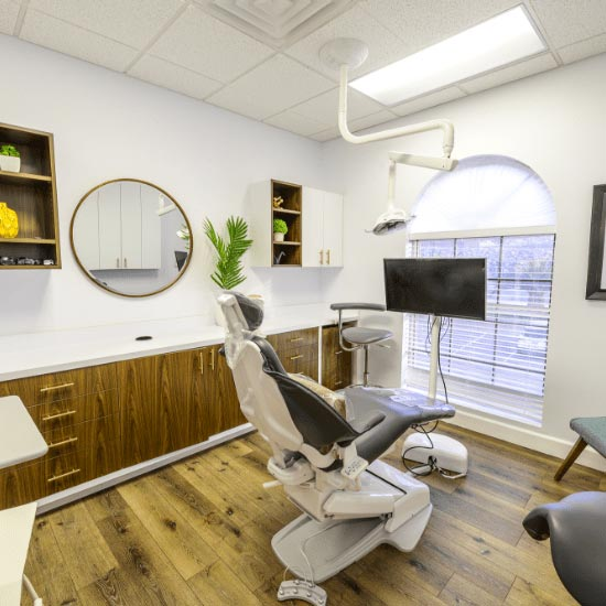 One of our comfortable dental chairs and accommodations